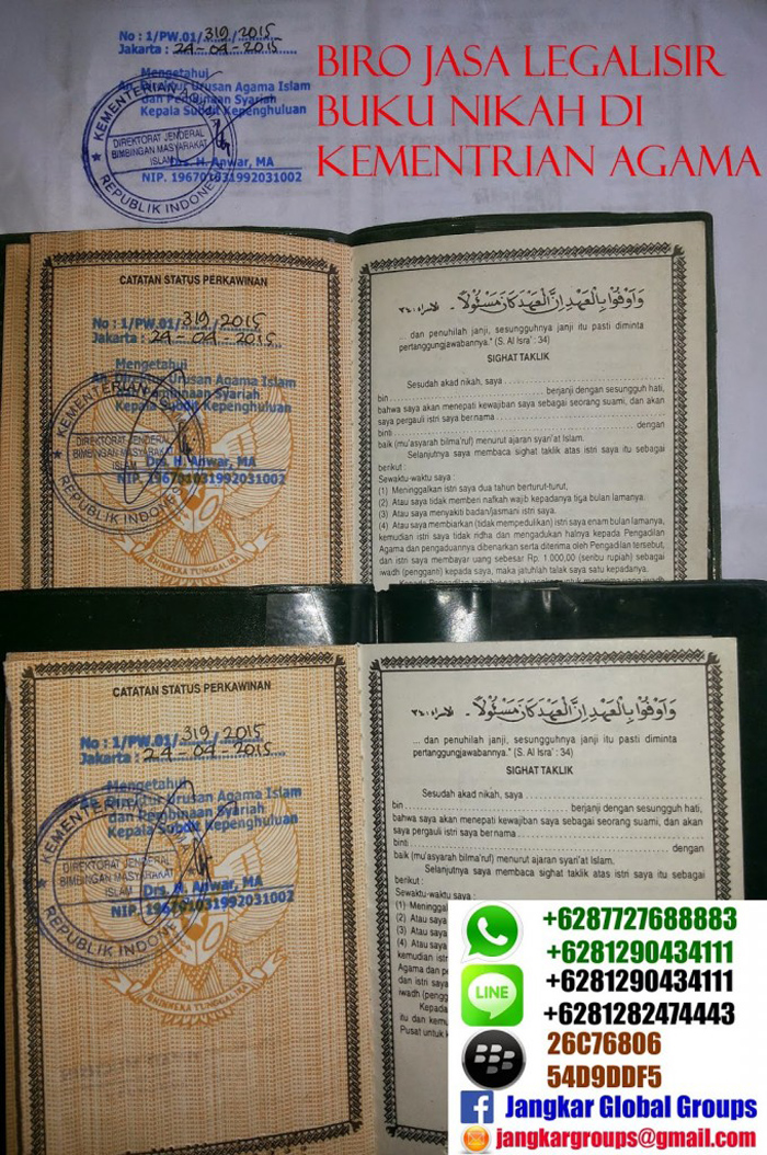 Legalisir Buku Nikah Di Kemenag Jangkar Global Groups