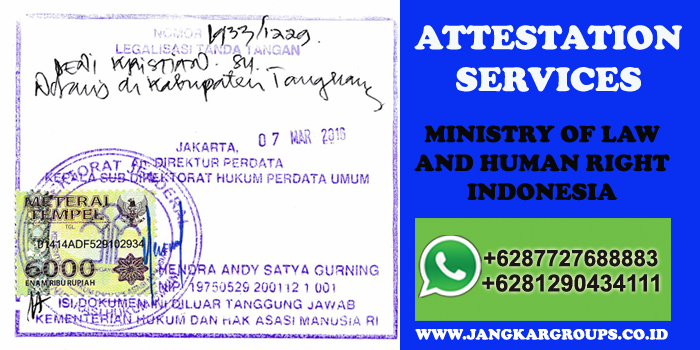attestation ministry of law and human right indonesia