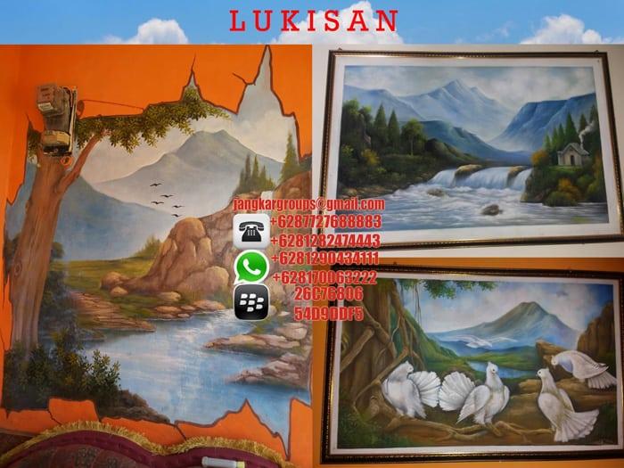 lukisan dinding dan kanvas