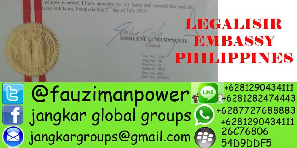 legalisasi di kedutaan philipina
