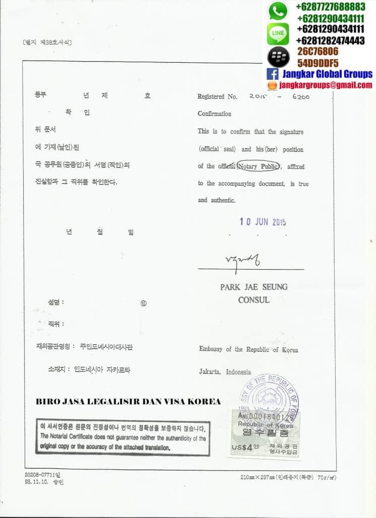 legalisir korea selatan