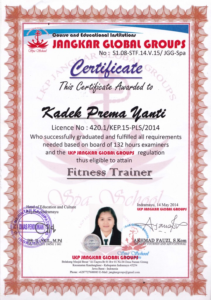 certificate fitness trainer