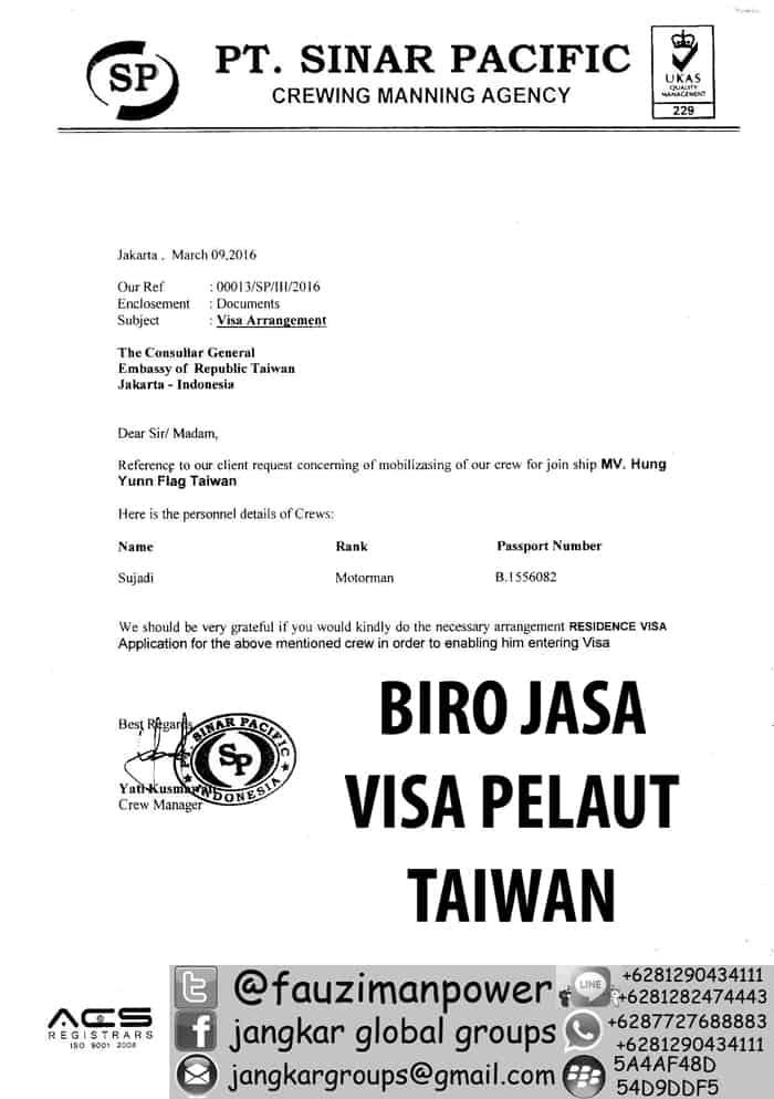 Persyaratan Visa Pelaut Ke Taiwan Jangkar Global Groups