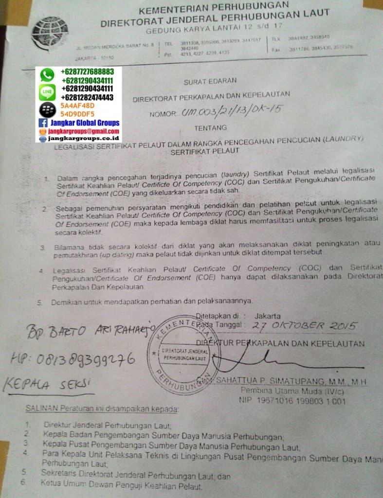 legalisasi sertifikat pelaut