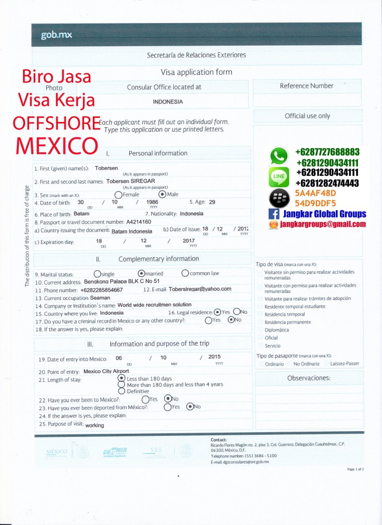 formulir visa offshore mexico