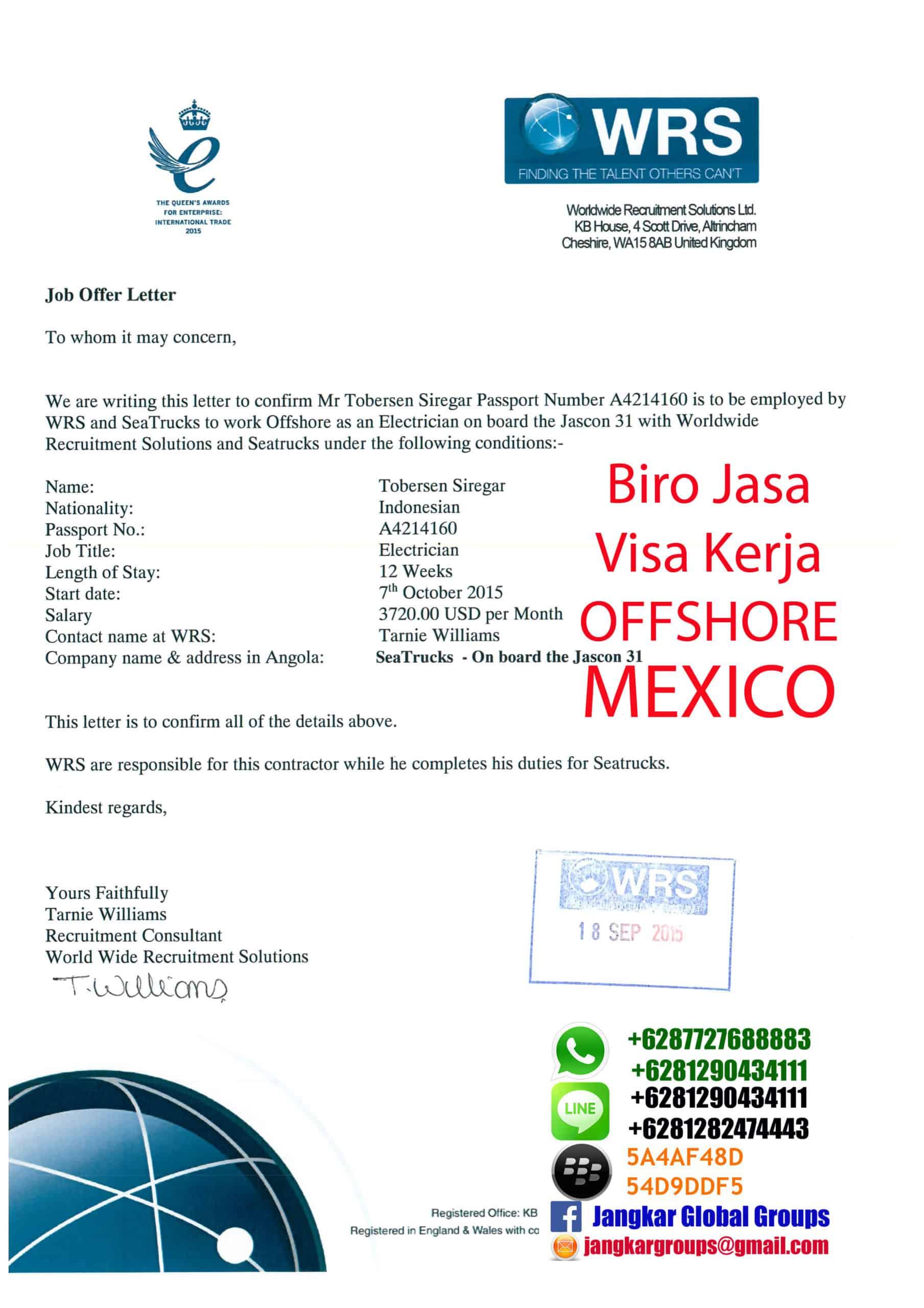 job offer letter mexico Jangkar Groups
