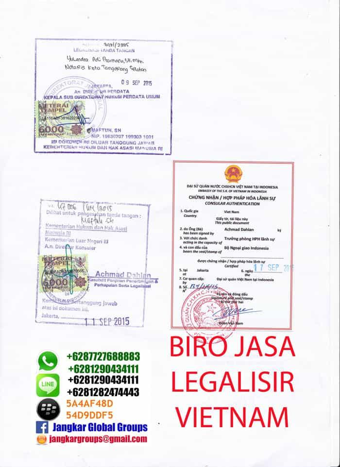legalisir dokumen di kedutaan vietnam