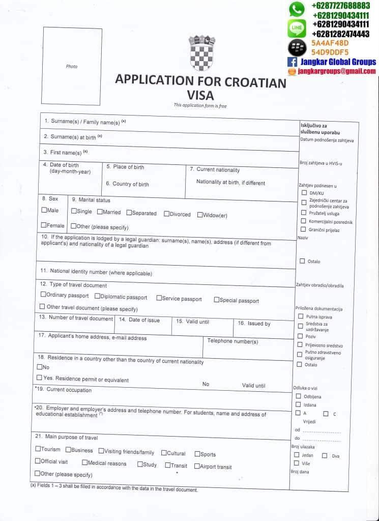 formulir visa croatia