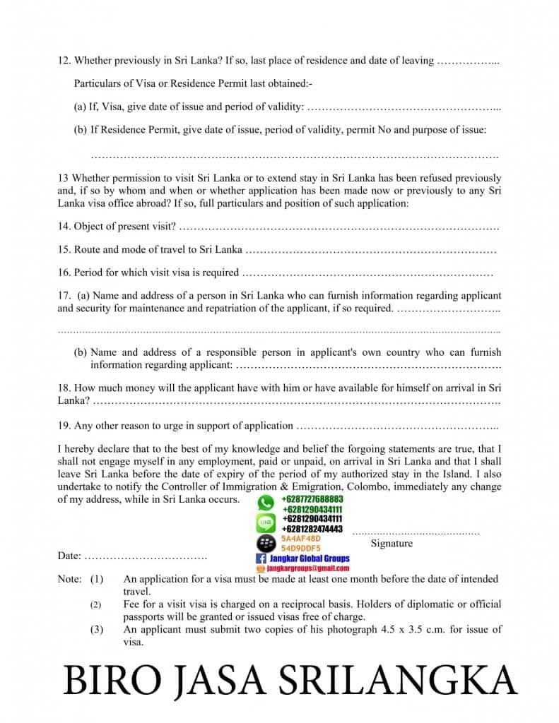 formulir visa kerja srilangka