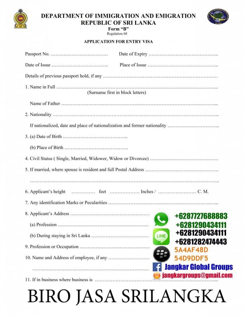formulir visa srilangka