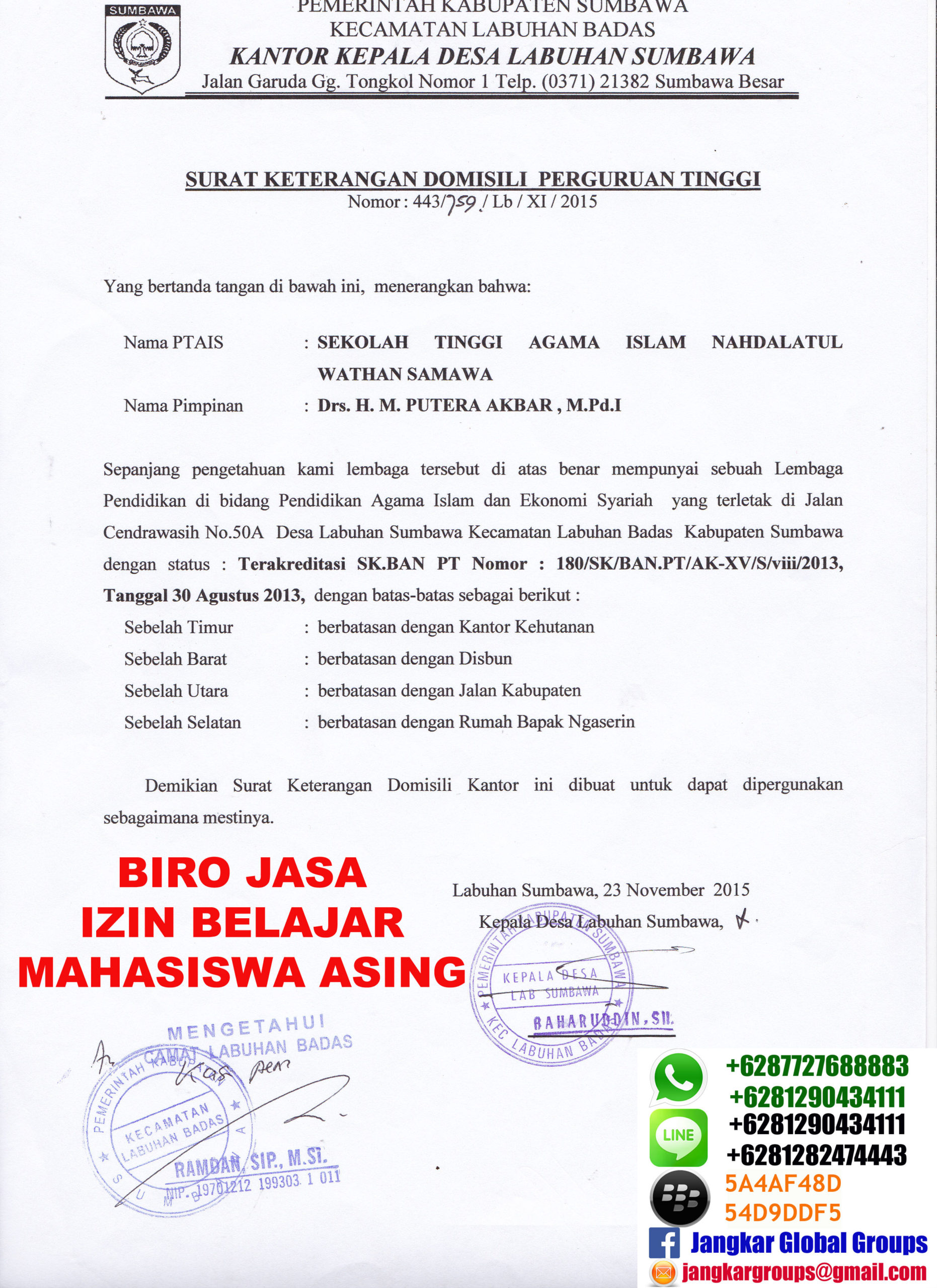 Surat Keterangan Domisili Kampus Jangkar Global Groups