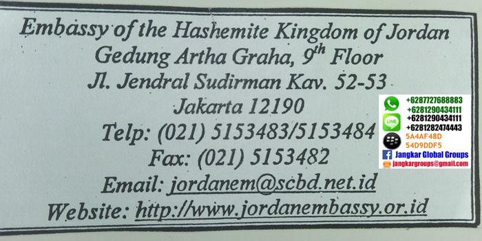 alamat kedutaan jordan di jakarta