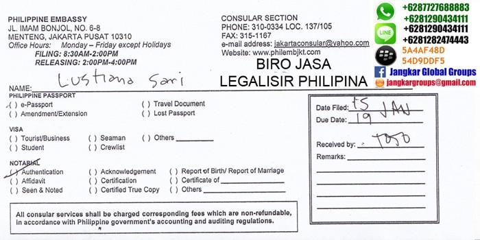 legalisir akta kelahiran di kedutaan philippine