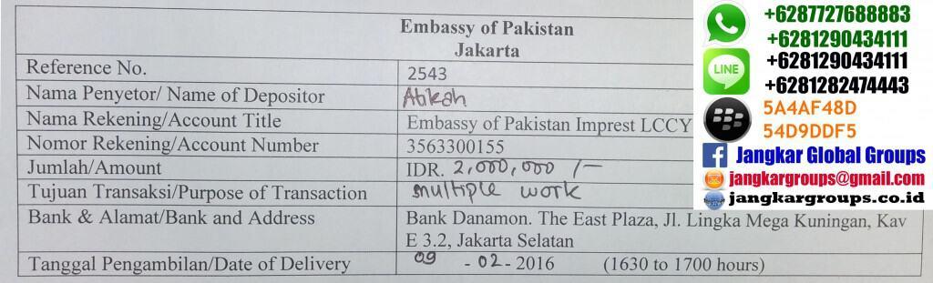 biaya visa kerja pakistan