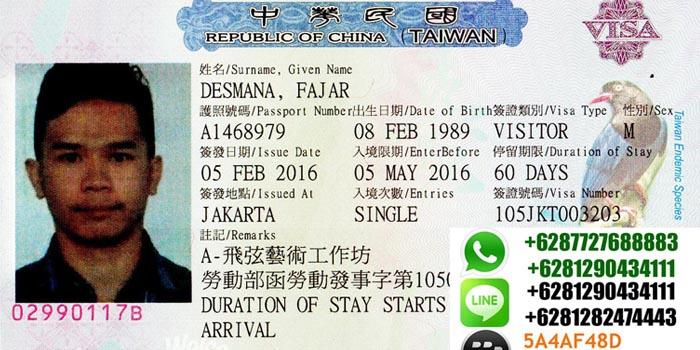 persyaratan visa visitor performer ke taiwan
