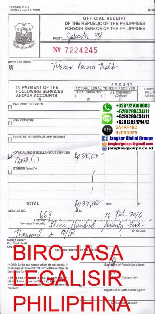 biaya legalisir philipina
