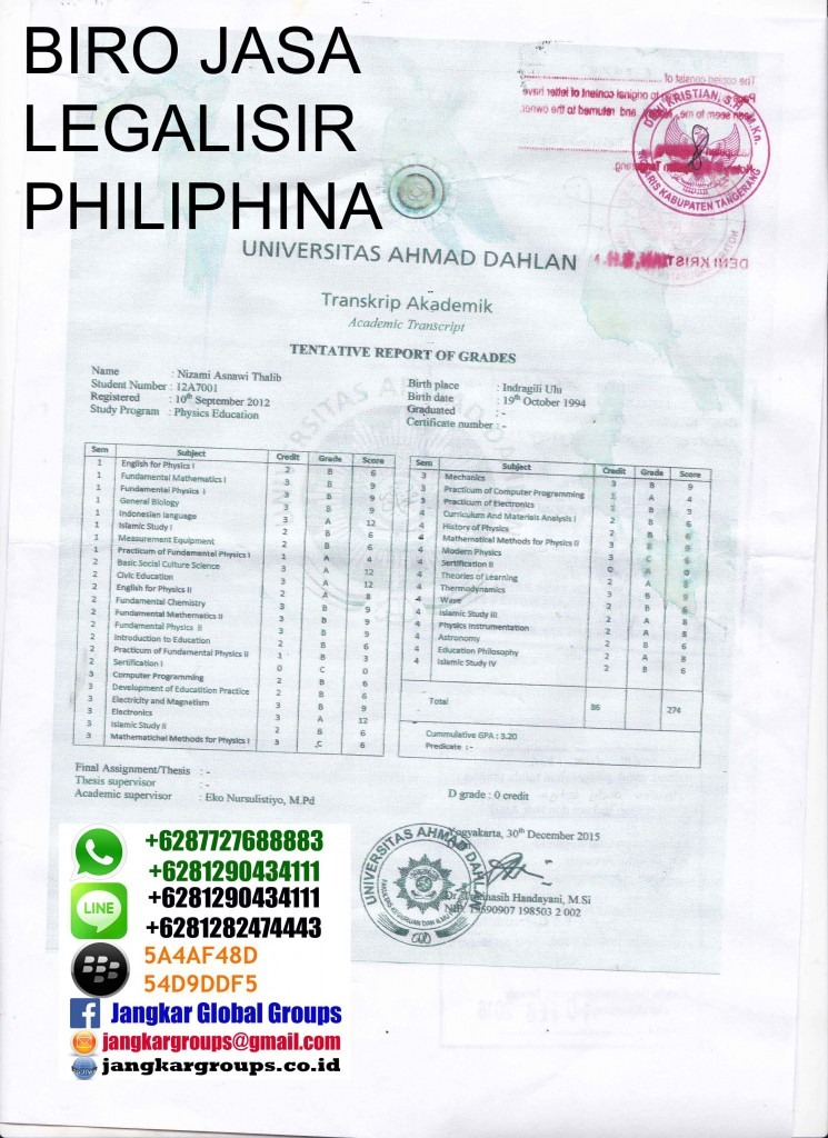 legalisir ijazah philipina