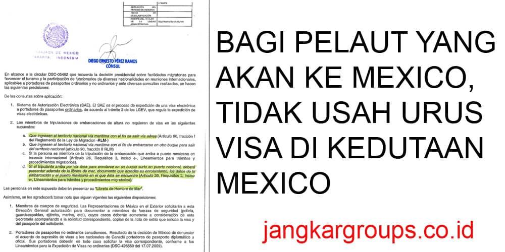 persyaratan free visa pelaut ke mexico