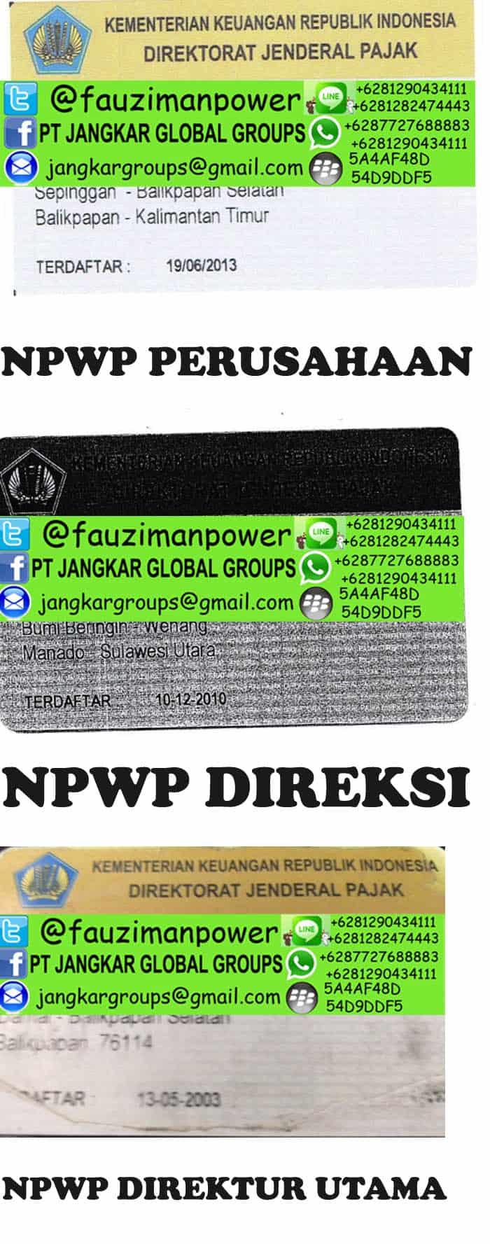 npwp perusahaan direksi dan dirut