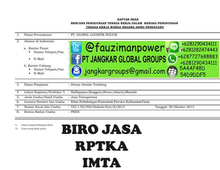uraian dan jabatan Form RPTKA_001