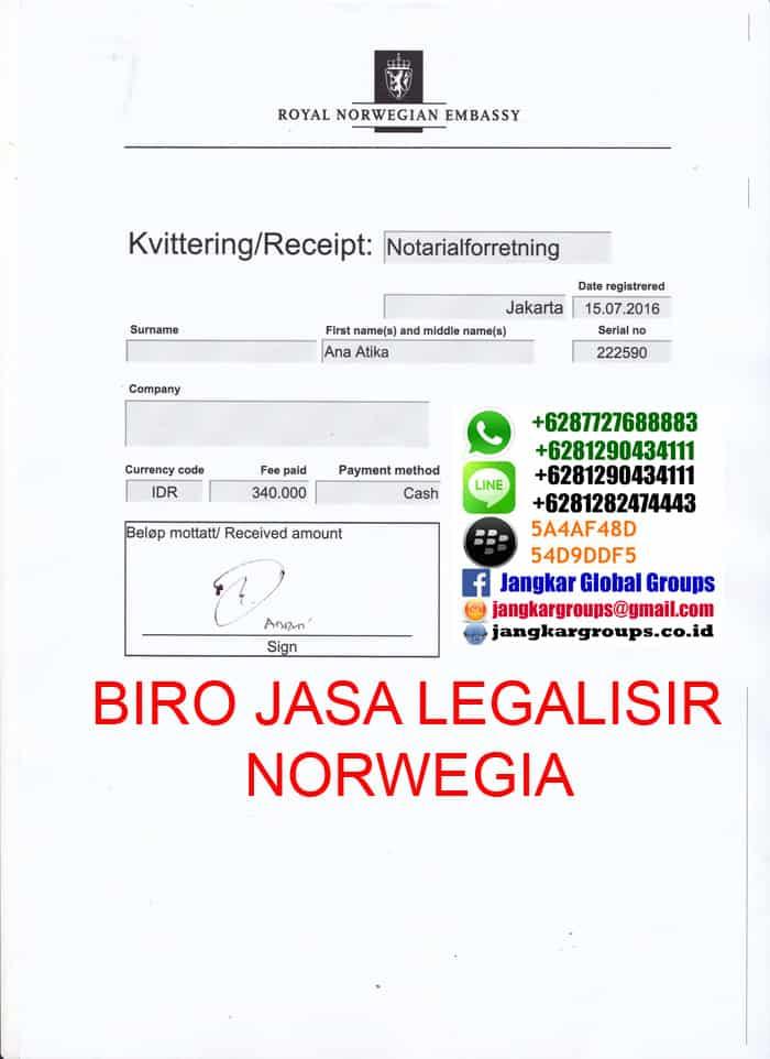 biaya legalisir norwegia