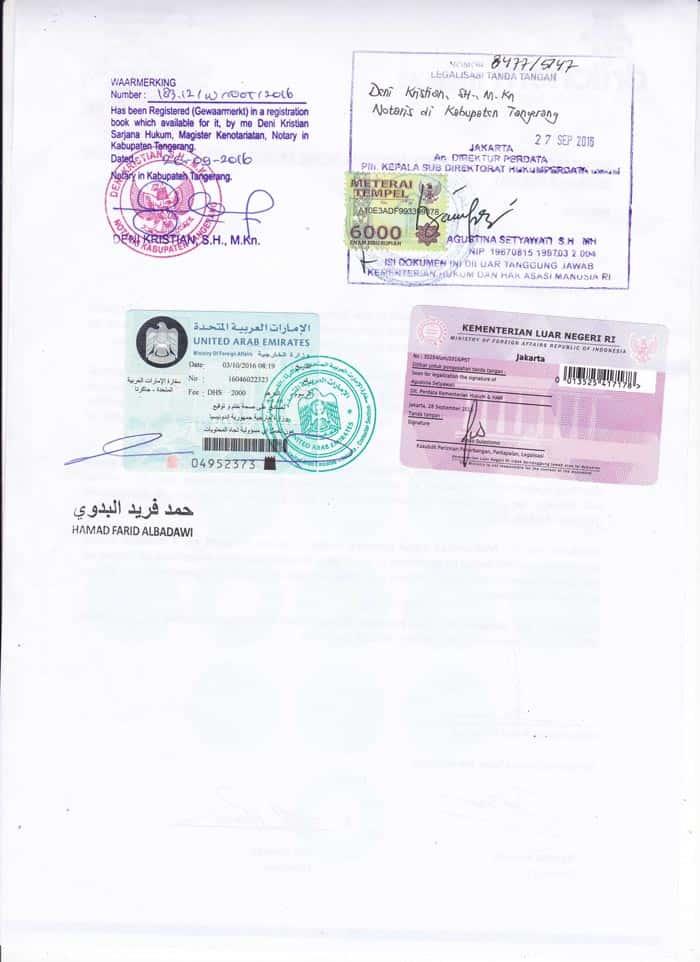 legalisir dokumen perusahaan uae