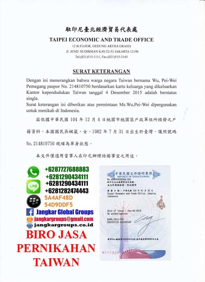 surat singel untuk warga negara taiwan