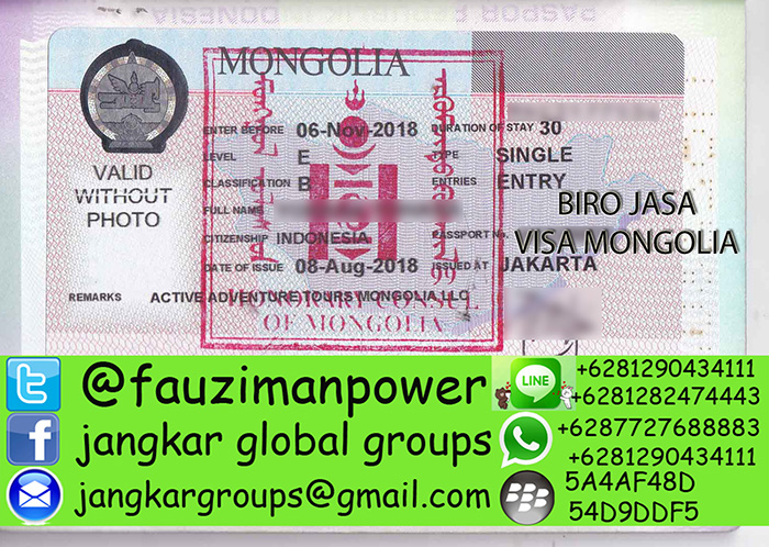 Contoh visa mongolia