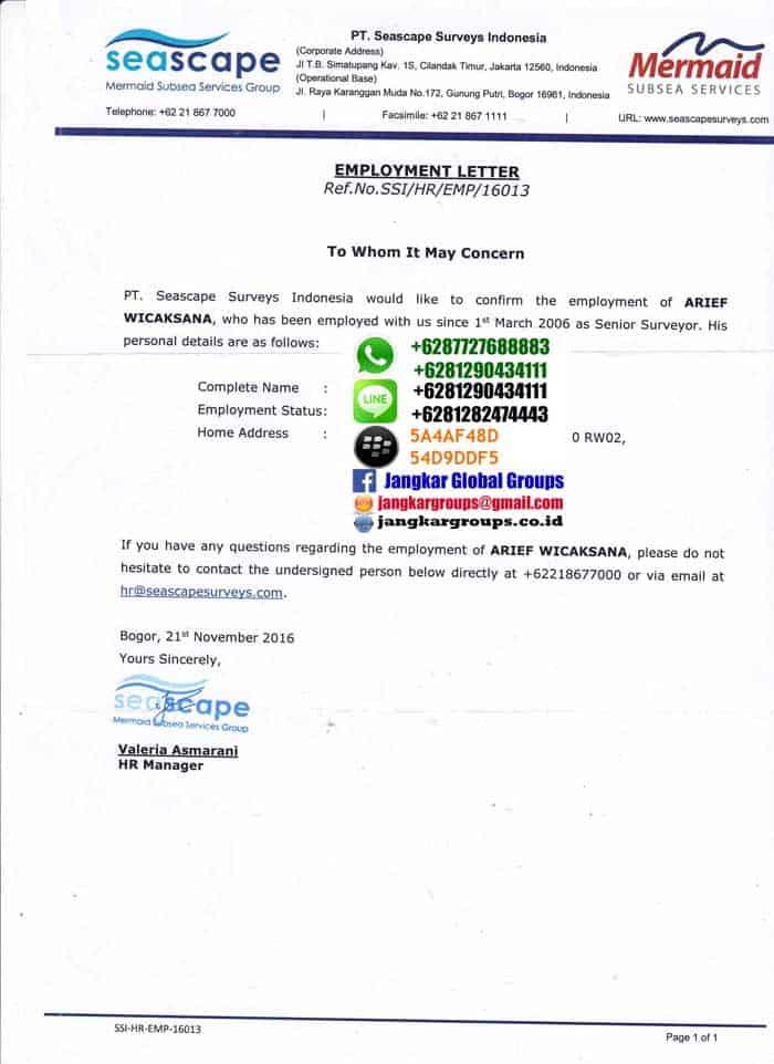 Surat Keterangan Bekerja Seascape Jangkar Global Groups