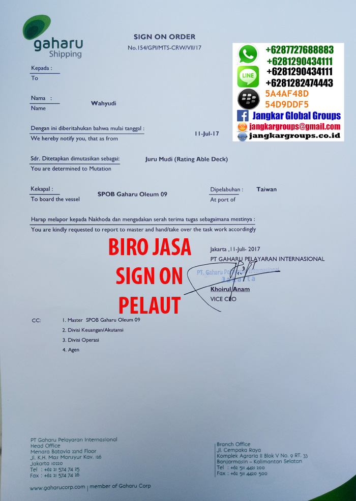 PERSYARATAN SIGN ON PASPORT PELAUT