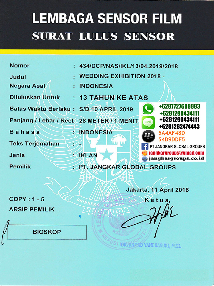 surat lulus sensor shangri-la wedding exhibition 2018