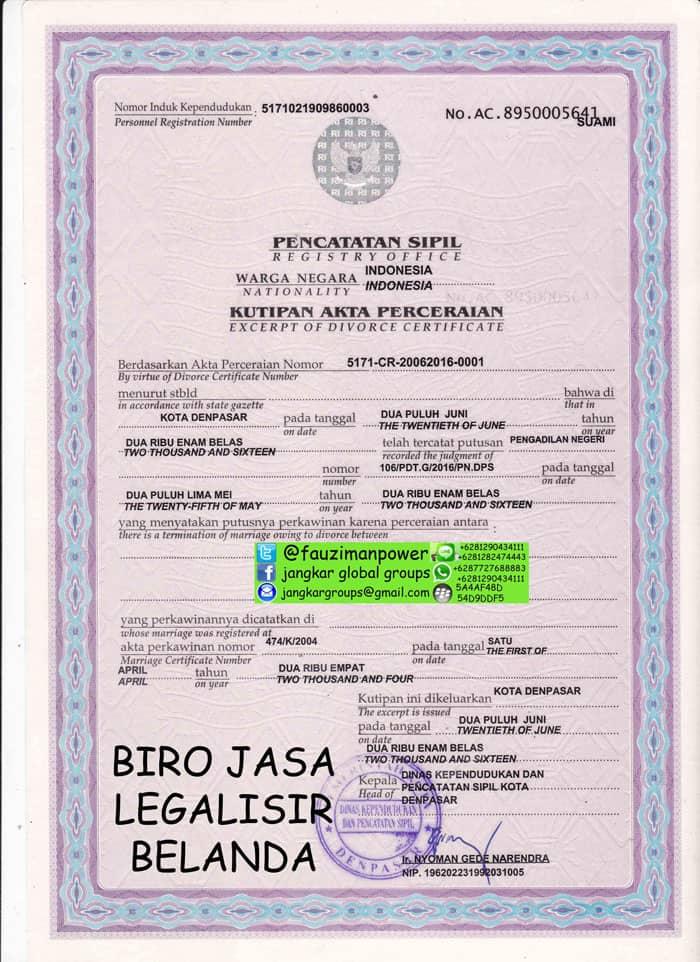 Legalisir akte perceraian di kedutaan belanda