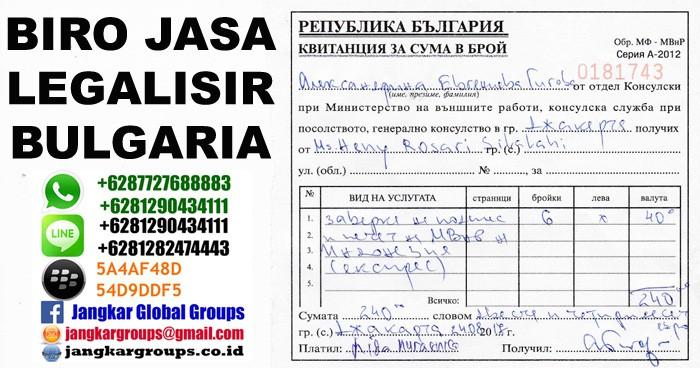 biaya legalisir bulgaria