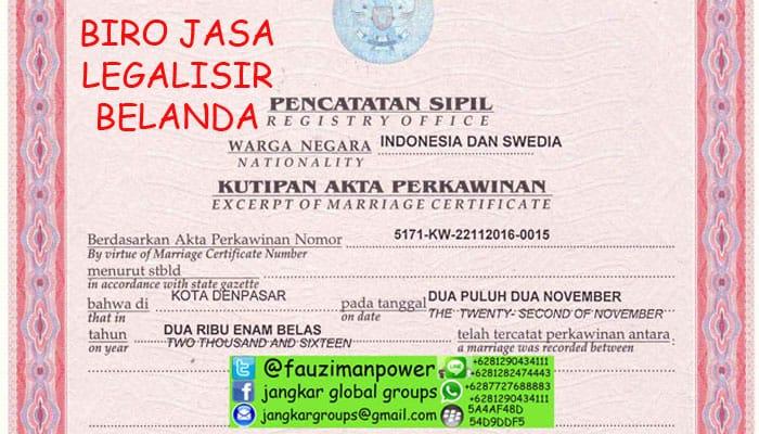 biro jasa legalisir lapor perkawinan di kedutaan belanda