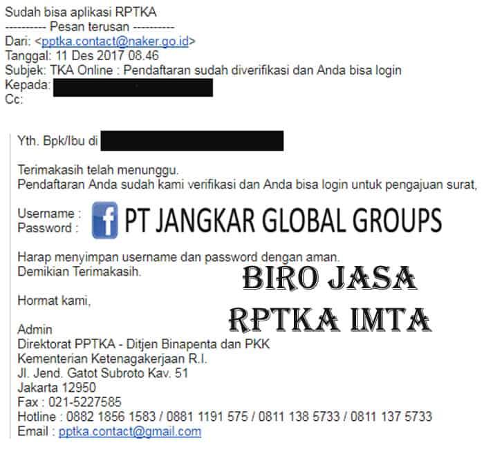 Pendaftaran Perusahaan TKA Online