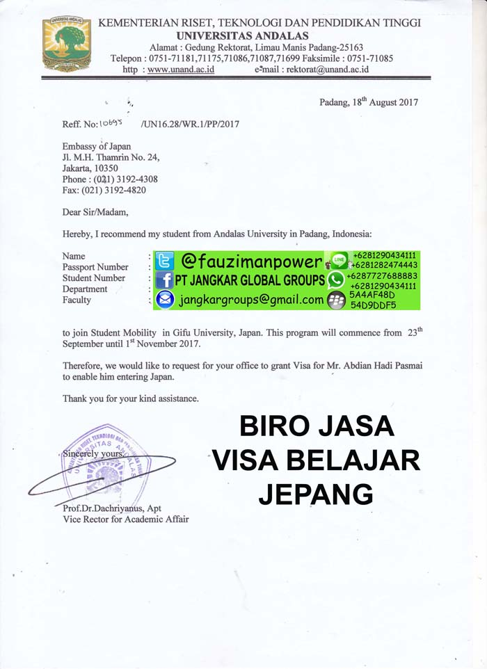 Surat permohonan visa jepang