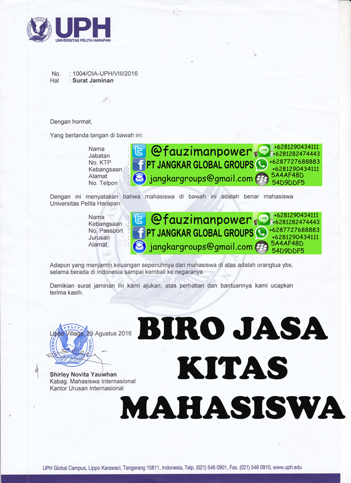 contoh surat jaminan wna