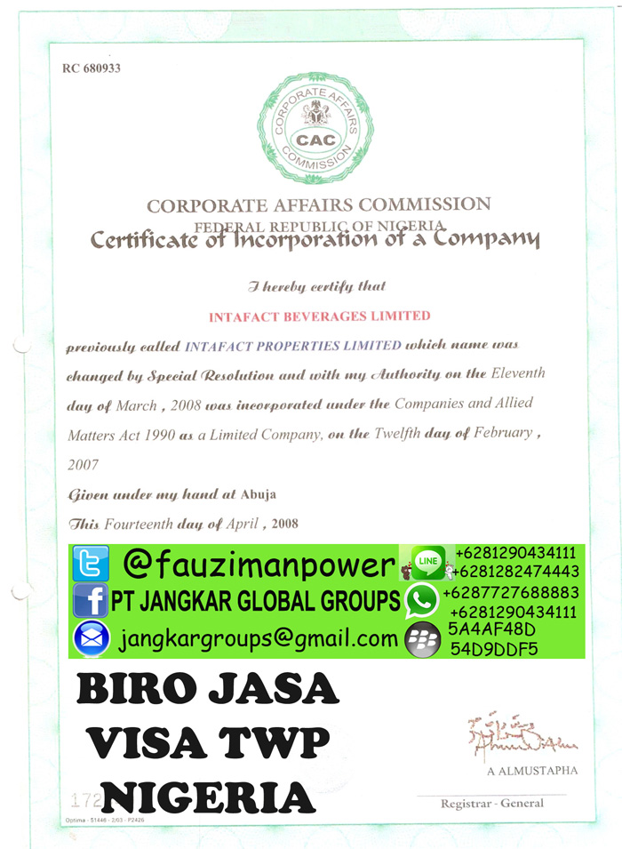 Certificate of Incorporation Intafact