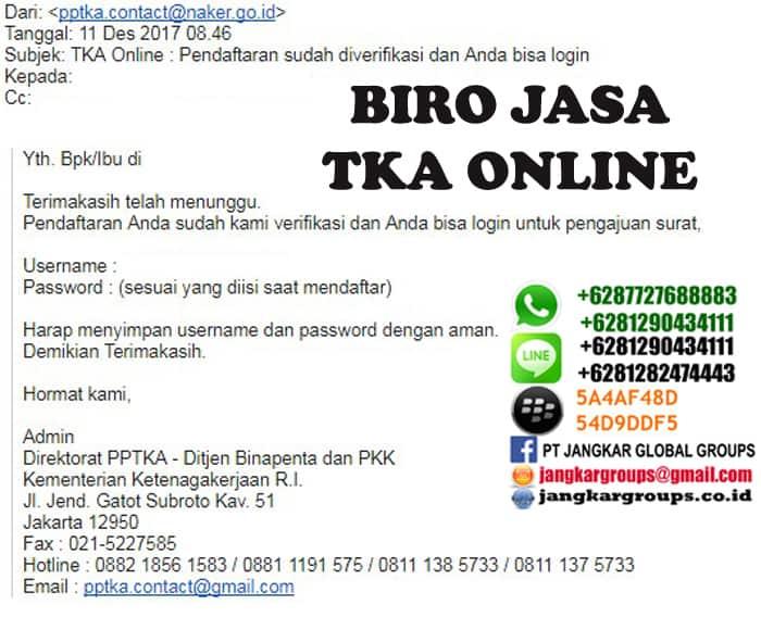 pendaftaran sudah di verifikasi tka online