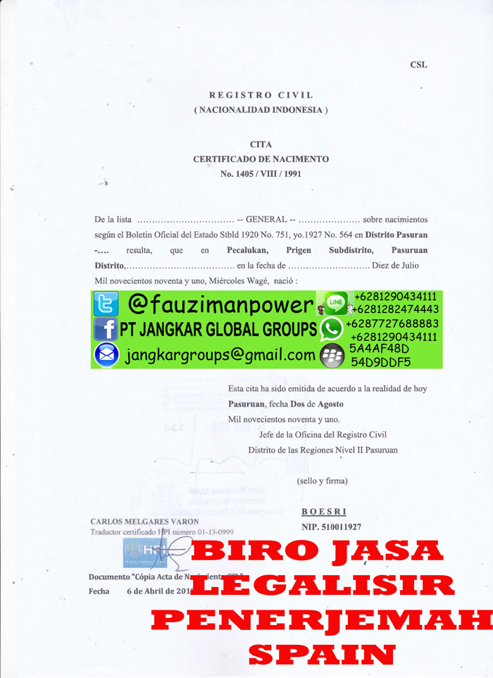 Legalisir translate akte spanyol