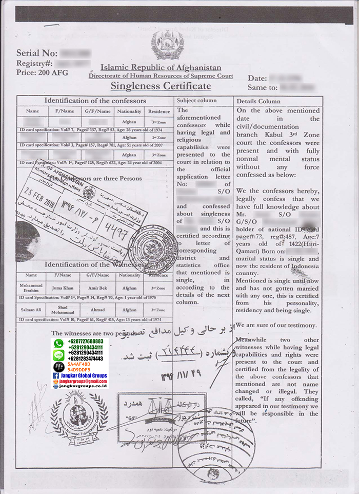 Letter of declaration single status from afghanisthan