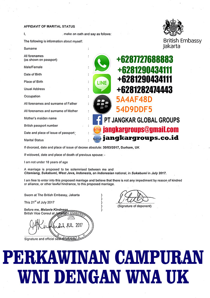 avidavit marital status from embassy UK