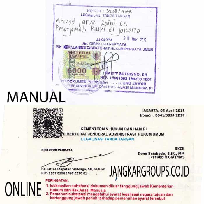 perbedaan legalisir kemenkumham manual dan online