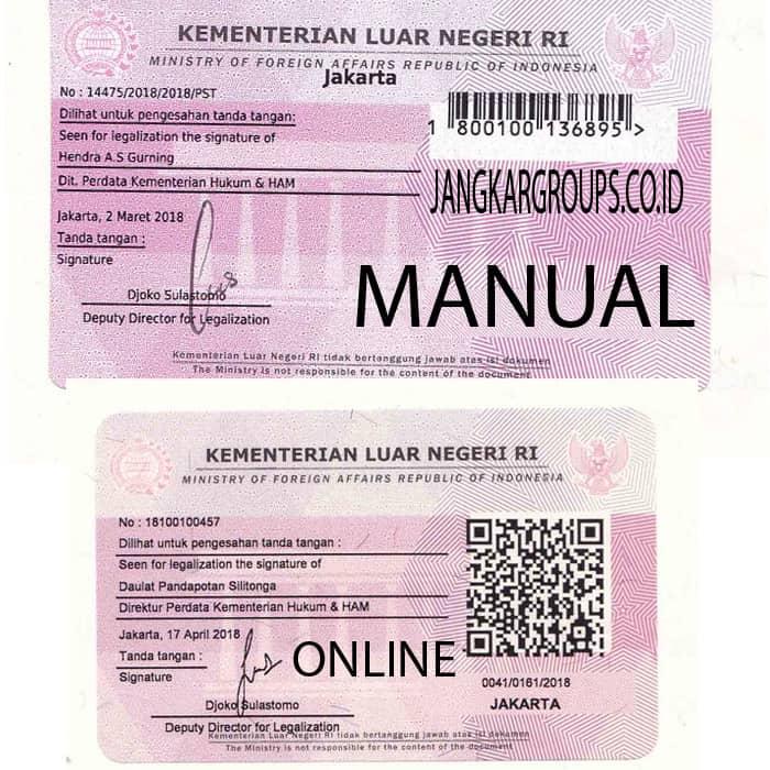 perbedaan legalisir kemenlu manual dan online