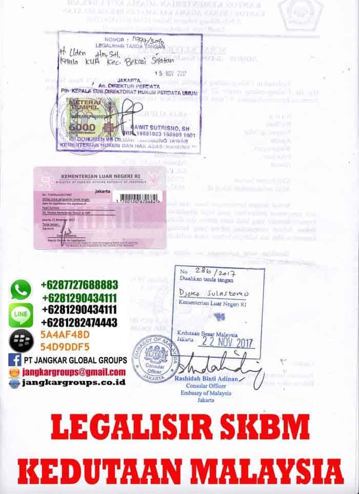 Legalisir Surat Keterangan Single di embassy malaysia