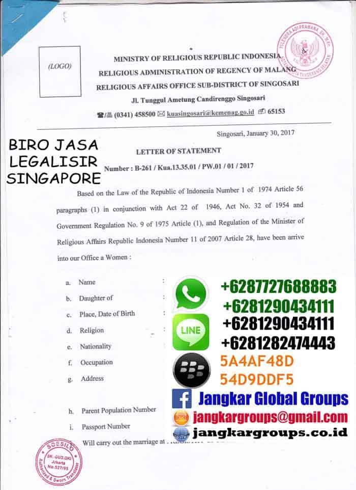 Legalisir Translate skbm di kedutaan singapore