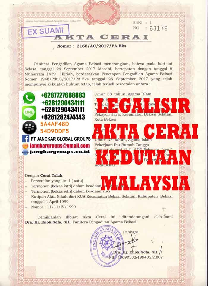 Legalisir Akta Cerai Dan Skbm Di Kedutaan Malaysia Jangkar