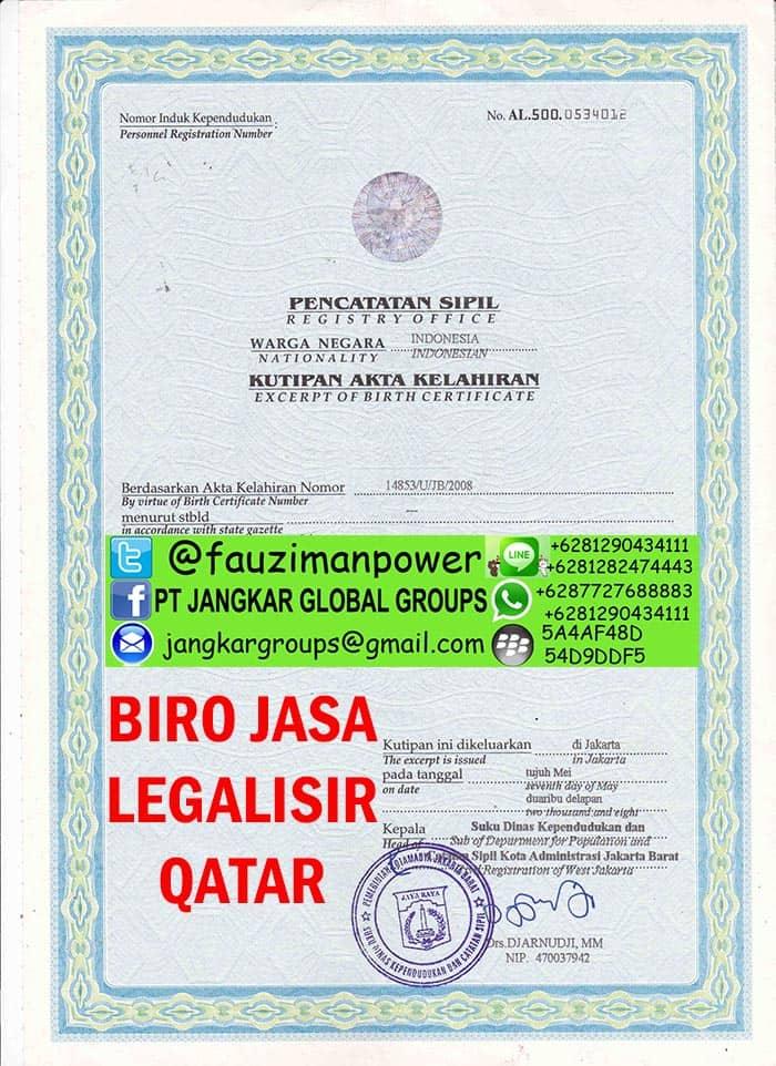 Legalisir akte kelahiran di kedutaan qatar