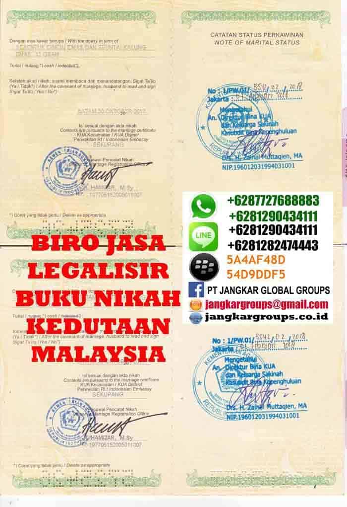 Legalisir buku nikah di kedutaan malaysia