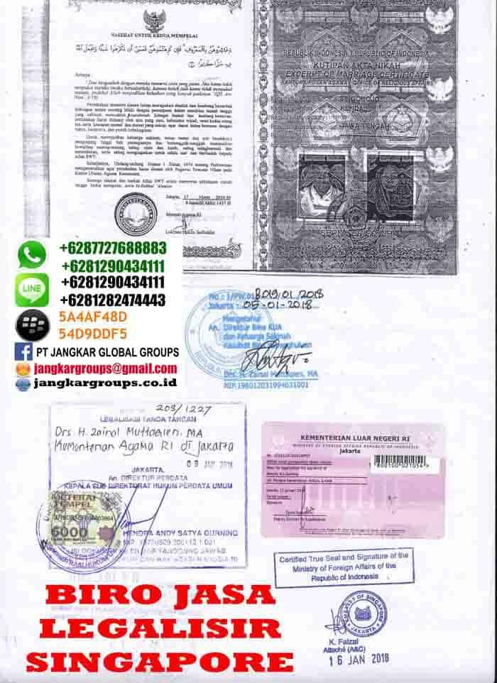 Legalisir copy buku nikah di kedutaan singapore